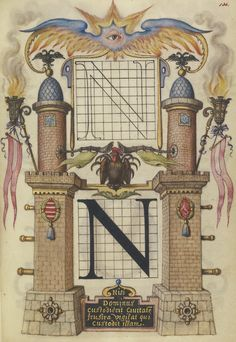 Guide for Constructing the Letter N; Joris Hoefnagel (Flemish / Hungarian, 1542 - 1600); Vienna, Austria; about 1591 - 1596; Watercolors, gold and silver paint, and ink on parchment; Leaf: 16.6 x 12.4 cm (6 9/16 x 4 7/8 in.); Ms. 20, fol. 136