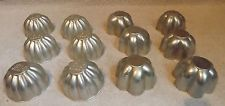 Vintage Lot Of 12  Aluminum JELL-O Molds Mini Cake Tins-Candle Craft Molds