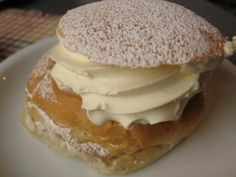 A wheat bun stuffed with almond paste and whipped cream