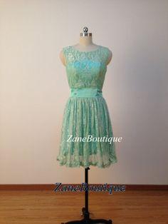 Mint Short Lace Bridesmaid Dress, Custom Straps Knee-length Bridesmaid Dress / Lace Wedding Party Dress / Reception Dress / Bridal Dress on Etsy, $99.00
