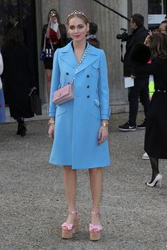 Chiara Ferragni attends the Miu Miu show as part of the Paris Fashion Week Womenswear Fall/Winter 2017/2018 on March 7 2017 in Paris France