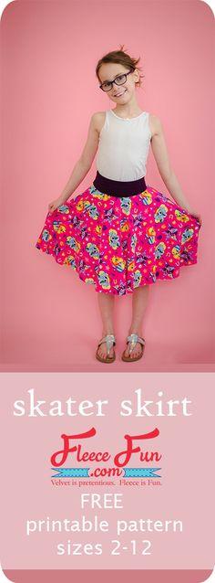 How to make a Skater Skirt (Free Printable Pattern) ♥️ Fleece Fun Skater Skirt Pattern, Circle Skirt Pattern, Skirt Pattern Free, Free Pattern, Girls Skirt Patterns, Sewing Patterns For Kids, Clothing Patterns, Pattern Sewing, Sewing Ideas
