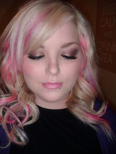 bleach blonde hair with pink streaks | Cheeks: Maybelline dream mousse blusher in 04 mauve (for some reason ...