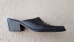 Connie Black Leather Mules NWOB Size 7.5 | Clothing, Shoes & Accessories, Women's Shoes, Heels | eBay!