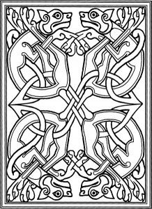 Celtic knotwork with stylized dogs