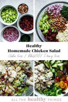 Healthy Homemade chicken salad is the perfect healthy lunch or snack. Packed with flavor from fresh herbs, dried fruit, crisp veggies, and crunchy nuts, this chicken salad is sure to be a new meal prep staple. Easy Whole 30 Recipes, Healthy Gluten Free Recipes, Whole30 Recipes, Homemade Chicken Salads, Chicken Salad Recipes, Healthy Pasta Salad, Whole Roasted Chicken, Greek Pasta, Chicken With Olives