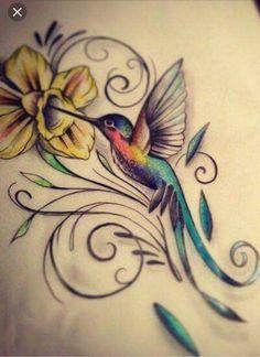 Daddy Tattoos, Dove Tattoos, Friend Tattoos, Mini Tattoos, Body Art Tattoos, Tattoos For Guys, Hummingbird Flower Tattoos, Hummingbird Art, Wolf Tattoo Shoulder
