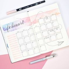 "Bullet Journal /""Floral/"" mit original Tombow TwinTone Dual-Tip Marker 22 pink NEU"