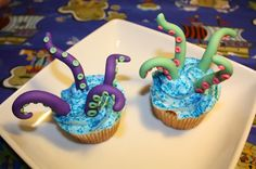 Octopus tentacle cupcake toppers!! By Eye Candy Sugar! You just buy the toppers and stick them into your homemade or store bought cupcakes. Instant nautical fun!