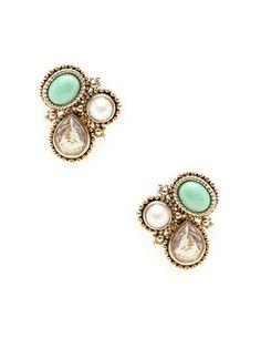 Stephen Dweck Green Jade & Crystal Quartz Geometric Earrings