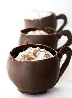 Chocolate Cups for Desserts. Find a cup fill it up with chocolate, let set for a bit then pour out the inside (assuming the cup isn't curved like in the picture) Or I guess you could just pour it over a over turned cup and then pull it off gently. A lot of people also do the balloon method which is just dipping a blown balloon in chocolate, letting it set, then letting the balloon deflate.
