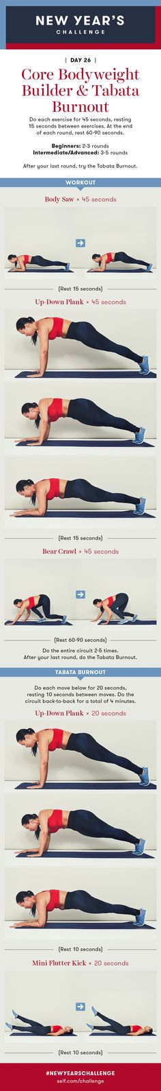 Plank Workout: Core Workout and Tabata Burnout: New Year's Challenge - Day 26 - Fitness Strength Workout, Strength Training, Cleaning Workout, 28 Day Challenge, Flutter Kicks, Plank Workout, Tabata, Cardio, Get In Shape