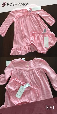 RL soft cotton pink stripe dress & bloomer Brand new with tags.  Button back, soft cotton.  Pet free smoke free posher. Ralph Lauren Dresses Casual