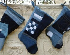 "SALE! Blue Jean Christmas Stocking Upcycled Jeans Pocket Log Cabin Quilted Denim Patchwork Fully Lined 14""x 9"" x 9"" Denim Christmas Stocking"