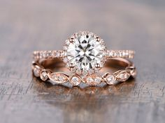 6.5mm Round Moissanite Wedding Set Diamond Bridal Ring 14k Rose Gold Marquise Matching Band