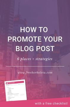 Promoting your blog post doesn't have to be hard, time consuming, or sleazy. Hop on over for 6 places and strategies on how to promote your blog post.