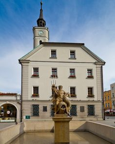Town hall and fountain at marketplace in Gliwice, Poland