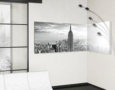 #Eckleinwandbild Manhattan Skyline Panorama 2:1 #schwarzweiß #blackandwhite