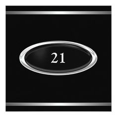 Elegant Black Silver Stripe 21st Birthday Male 5.25x5.25 Square Paper Invitation Card