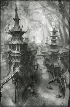 _ Super domineering line art scene of the original painting Dream Resource Station via PinCG.com