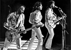 The Bee Gees perform at Dodger Stadium on July 7, 1979.