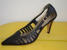New BCBG Paris Black Leather Strappy Sexy Pointy Toe Pumps Heels 5.5 #Luxehunter73 #designerresale #BCBG