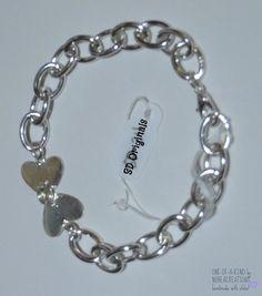 B-224 NoheaCreations. OOAK. Handmade. Sterling Silver Heart. Chain. Bracelet.