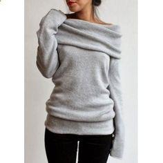 Elegant Gray Slash Collar Long Sleeve Pullover Knitwear For Women (GRAY,M) in Sweatshirts & Hoodies | DressLily.com