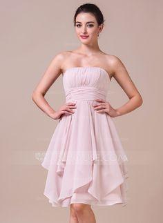 A-Line/Princess Strapless Knee-Length Chiffon Bridesmaid Dress With Cascading Ruffles (007042274) - JJsHouse
