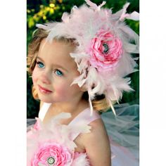 Pink Romance Flower Girls Feather Hair Accessory