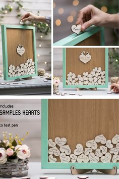 Production methods - handmade, hand painting, laser cutting / engraving. Each wood heart is glued with care, to create a gorgeous composition, and a perfect item for your wedding. These products are eco friendly also, being made only from recyclable materials. ♥♥♥ Each item is handmade and there may be slight color differences between the colour on your screen and the real product`s color. The shade of the wood may slightly vary, because the wood is a natural material. Wedding Crafts, Diy Wedding Decorations, Botanical Wedding Theme, Modern Tropical, Wooden Hearts, Budget Wedding, Theme Ideas, Wedding Guest Book, Laser Cutting