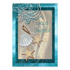 Shimmering Seashell Teal Beach Wedding Invitation