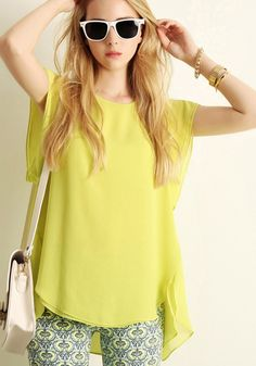 Green Plain Short Sleeve Loose Chiffon T-Shirt $35