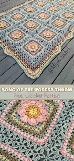 Lied des Waldes Decke werfen kostenlose Muster , Song of the Forrest Blanket Throw Free Pattern ,. Crochet Afghans, Granny Square Crochet Pattern, Afghan Crochet Patterns, Crochet Squares, Baby Blanket Crochet, Crochet Motif, Crochet Baby, Free Crochet, Knit Crochet