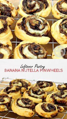 Leftover Pastry Banana Nutella Pinwheels - Fab Food 4 All Fruit Recipes, Brunch Recipes, Snack Recipes, Dessert Recipes, Budget Recipes, Delicious Recipes, Vegetarian Recipes, Leftovers Recipes, Healthy Desserts