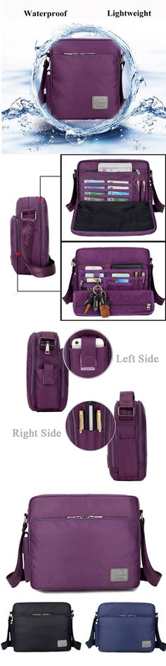 $23.73 Women Men Nylon Waterproof Multifunctional Multi-pockets Shoulder Bags Crossbody Bags