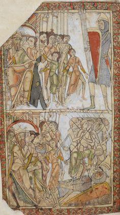 David and Goliath, The Winchester Psalter, mid 12th century, British Library Cotton MS Nero C IV