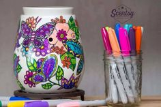 Flaunt your artistic leanings with a one-of-a-kind piece that's all you. Our Reimagine warmer offers the perfect canvas, a place for you to create vision to run wild and free. Simply grab some permanent coloured markers and bring your warmer to life with the colours you love most.  When you want to change your colours, it's simple. Just dab a cotton swab in rubbing alcohol to remove a little or a lot of colour to reapply the shades of your choice…