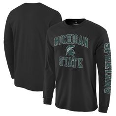 Michigan State Spartans Fanatics Branded Distressed Arch Over Logo Long Sleeve Hit T-Shirt - Black - $24.99