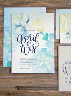 Watercolor Wedding Invitation Suite Custom Invites by Makewells