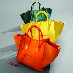 colorful handbags, orange, yellow, green...Originally pinned by Jacque Reid onto ACCESSORIES SHOW