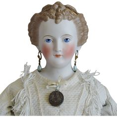 German Bisque Head Countess Dagmar Doll with Café Au Lait Decorated Hair Victorian Dolls, Antique Dolls, China Dolls, Bisque Doll, Antique China, Doll Head, Ruby Lane, French Fashion, Beautiful Dolls