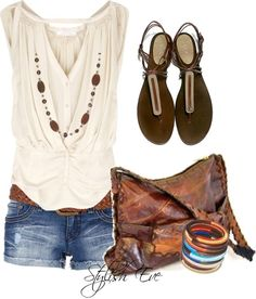 White shirt, denim shorts/skirt, brown bag, brown sandals, brown necklace, bracelets with colour.