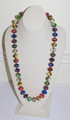 Vintage Beaded Necklace  Multi Color 29 Inches  by SCLadyDiJewelry