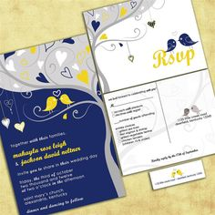 Tweet Tweet Love Birdies Wedding Invitation Suite with RSVP postcards and address labels