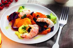 Scampi con crema di avocado e carote