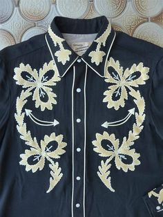 e8177b200 Vintage 1950s California Ranchwear men's western shirt. Paniolo style. Black  rayon gab w/ white suede accents & piping. M -L. Smile pockets
