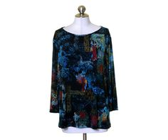 Investments Black Aqua Red Gold Oriental Print Stretch Knit Boat Neck Top Sz 2X #Investments #KnitTop #Casual