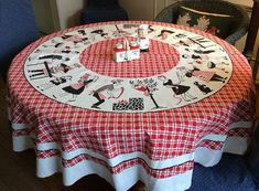 barbecue vintage tablecloth - Google Search Round Tablecloth, Linen Tablecloth, Table Linens, Retro Barbecue, Bbq, Vintage Kitchen, Retro Vintage, Grilling Sides, Bar B Q