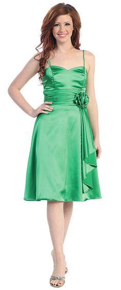 Green Knee Length Satin Spaghetti Straps Bridesmaid Cocktail Formal Dress sz L--